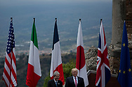 Italy, Taormina: U.S President Donald Trump arrives at the Ancient Theatre of Taormina ahead the G7 Summit on May 26, 2017.