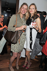 Left to right, ALESSANDRA ELIA and DARIA TURNER at Inception Group's Hamptons Garden Party to celebrate their collaboration with Embassy Gardens 2016 held at the Ballymore Marketing Suite, Nine Elms Lane, London on 12th July 2012.