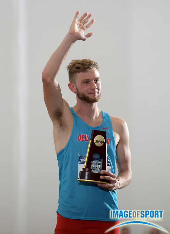 Mar 10, 2018; College Station, TX, USA; Josh Kerr of New Mexico poses after winning the mile in 3:57.02 during the NCAA Indoor Track and Field Championships at the McFerrin Athletic Center.