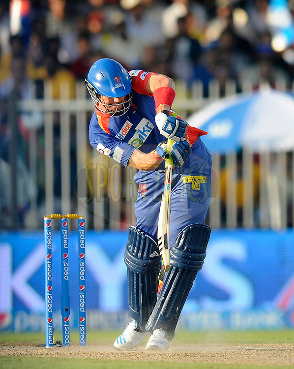 Kevin Pietersen captain of of the Delhi Daredevils bats during match 16 of the Pepsi Indian Premier League 2014 between the Delhi Daredevils and the Mumbai Indians held at the Sharjah Cricket Stadium, Sharjah, United Arab Emirates on the 27th April 2014<br /> <br /> Photo by Pal Pillai / IPL / SPORTZPICS