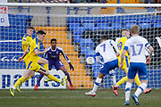 A shot on target by Kieron Morris of Tranmere Rovers  during the EFL Sky Bet League 1 match between Tranmere Rovers and AFC Wimbledon at Prenton Park, Birkenhead, England on 21 December 2019.