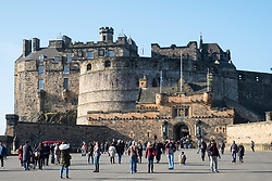 View of entrance to Edinburgh Castle on esplanade in Edinburgh, Scotland, United Kingdom