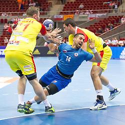 10.04.2016, Ergo Arena, Gdansk, POL, IHF Herren, Olympia Qualifikation, Chile vs Mazedonien, im Bild Nemanja Pribak, Esteban Salinas // during the IHF men's Olympic Games handball qualifier between Chile and Macedonia at the Ergo Arena in Gdansk, Poland on 2016/04/10. EXPA Pictures © 2016, PhotoCredit: EXPA/ Newspix/ Tomasz Zasinski<br /> <br /> *****ATTENTION - for AUT, SLO, CRO, SRB, BIH, MAZ, TUR, SUI, SWE only*****