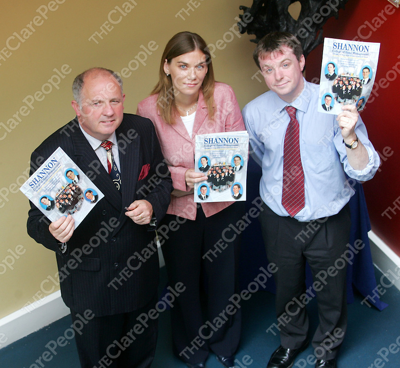 19/08/05<br /> Phillip Smyth - Director, Mary Brennan - Academic Administration and Finian O'Driscoll - Lecturer, displaying the new College Prospectus brochure at Shannon College of Hotel Management.<br /> Picture. Cathal Noonan/Press22.