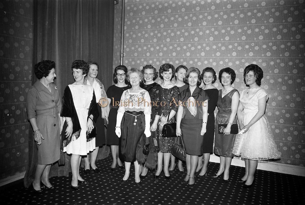 14/02/1963<br /> 02/14/1963<br /> 14 February 1963<br /> Annual Dinner of the Irish Institute of Secretaries at Jury's Hotel, Dublin.  A group of ladies pictured before the dinner (l-R): Mrs E. Kearney; Mrs D. Moran; Mrs B. Kennedy; Miss Bradley; Mrs M. Purcell; Mrs W. Kinsella; Mrs M. Larkin; Mrs A. O'Scolai; Miss E. Hannon; Mrs C. Carroll; Miss Carroll and Miss L. Ward.