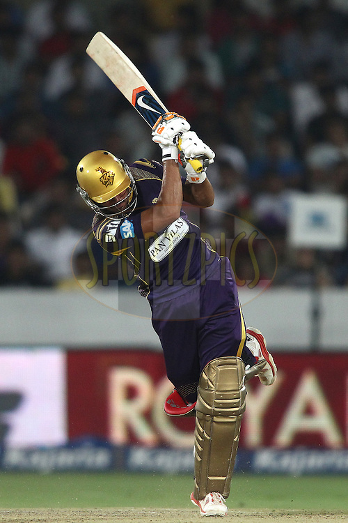Manish Pandey of the Kolkata Knight Riders plays a delivery through the leg side during the first semi final match of the Oppo Champions League Twenty20 between the Kolkata Knight Riders and the Hobart Hurricanes held at the Rajiv Gandhi Cricket Stadium, Hyderabad, India on the 2nd October 2014<br /> <br /> Photo by:  Shaun Roy / Sportzpics/ CLT20<br /> <br /> <br /> Image use is subject to the terms and conditions as laid out by the BCCI/ CLT20.  The terms and conditions can be downloaded here:<br /> <br /> http://sportzpics.photoshelter.com/gallery/CLT20-Image-Terms-and-Conditions-2014/G0000IfNJn535VPU/C0000QhhKadWcjYs
