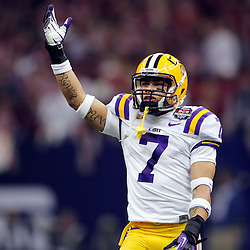 Jan 9, 2012; New Orleans, LA, USA; LSU Tigers cornerback Tyrann Mathieu (7) during the first half of the 2012 BCS National Championship game against the Alabama Crimson Tide at the Mercedes-Benz Superdome.  Mandatory Credit: Derick E. Hingle-US PRESSWIRE
