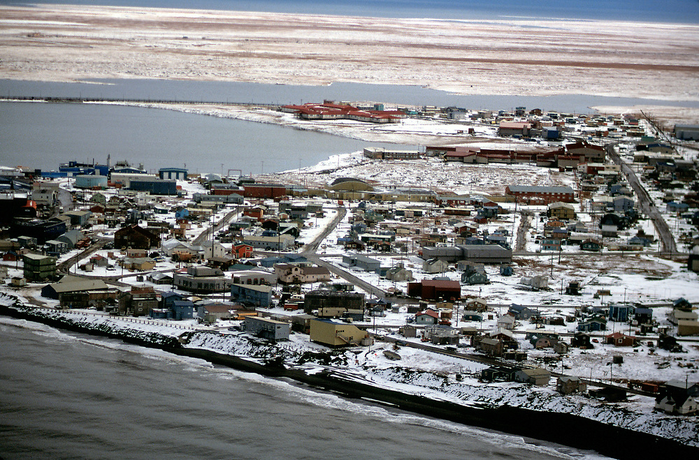 Aerial view of Barrow, Alaska on the Chukchi Sea