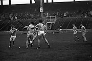 13/09/1970<br /> 09/13/1970<br /> 13 September 1970<br /> All-Ireland Intermediate Semi-Final: Dublin v Antrim at Croke Park, Dublin.<br /> B. McGarry of Antrim (13) succeeds in hooking V. Flood's attempted clearance and P. McShane of Antrim comes in fast to take advantage of the situation.