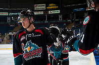KELOWNA, CANADA - SEPTEMBER 5: Kelvin Hair #3 of the Kelowna Rockets celebrates a goal against the Kamloops Blazers on September 5, 2017 at Prospera Place in Kelowna, British Columbia, Canada.  (Photo by Marissa Baecker/Shoot the Breeze)  *** Local Caption ***