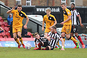 Grimsby Town defender Ben Davies (2) on the floor during the EFL Sky Bet League 2 match between Grimsby Town FC and Port Vale at Blundell Park, Grimsby, United Kingdom on 10 March 2018. Picture by Mick Atkins.