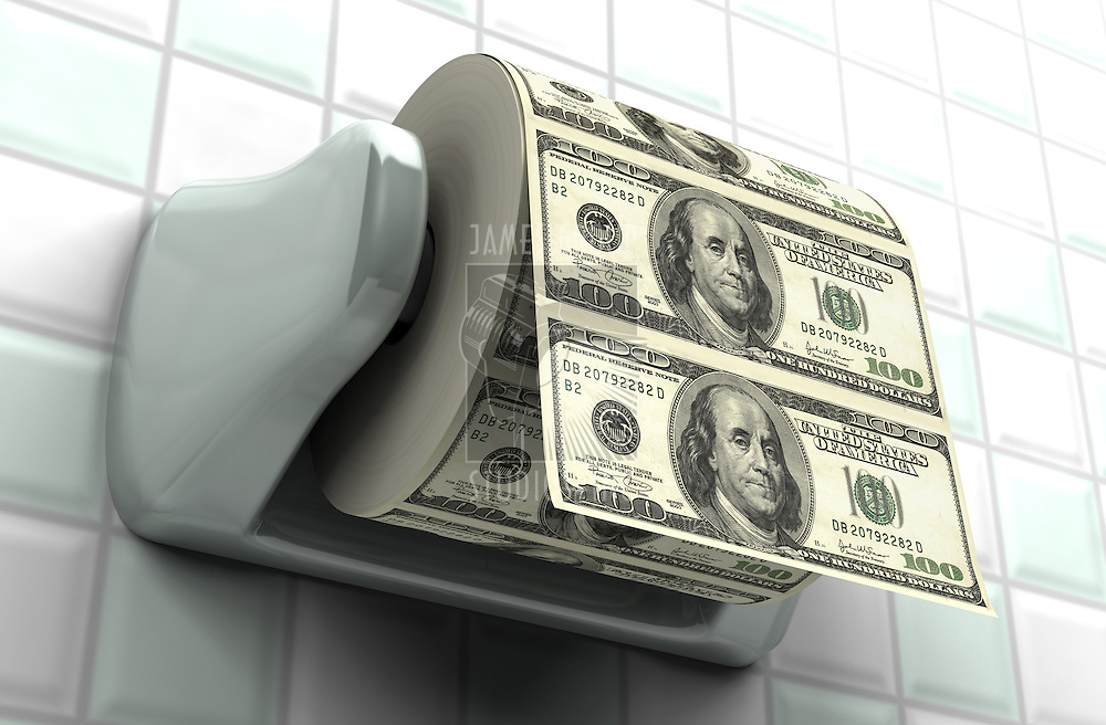Roll of $100 bills on a toilet paper spindle