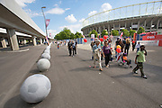 Giant concrete footballs at Ernst-Happel-Stadion, place of the finals of EURO 2008, open to visitors during the grand opening of the prolongated subway line U2, now going all the way from Karlsplatz to Ernst-Happel-Stadion.