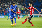 Nathaniel Mendez-Laing of Cardiff City and Kevin Bru of Ipswich Town during the EFL Sky Bet Championship match between Cardiff City and Ipswich Town at the Cardiff City Stadium, Cardiff, Wales on 31 October 2017. Photo by Andrew Lewis.