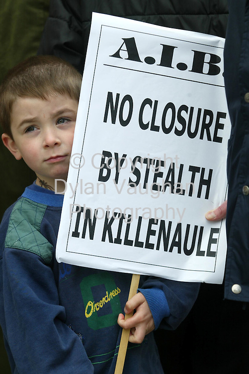 18/6/2002 Irish Indo.Pictured yesterday at the protest outside the Allied Irish Bank in Killenaule County Tipperary was Harry Tobin aged 4 from Killenaule..Picture Dylan Vaughan