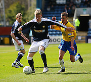 Dundee's Kevin McDonald taks on Hamilton's Grant Gillespie during the IRN BRU Scottish League First Division match between Dundee and Hamilton at Dens Park<br /> <br /> ,<br /> Monifieth,<br /> <br /> 0776 5252616