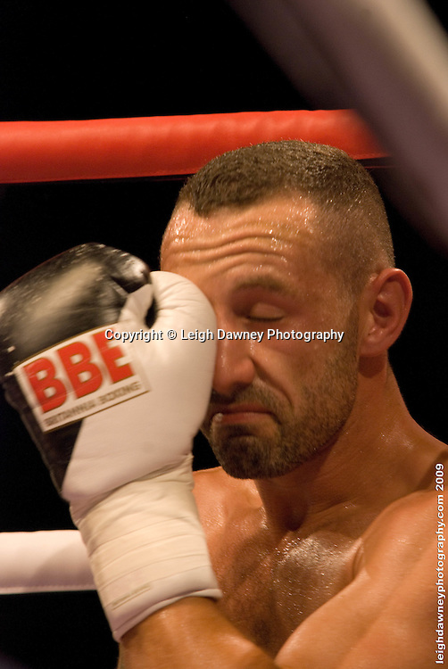 Daniel Thorpe in his corner where he faced Tyrone Nurse at the Brentwood Centre UK on 11th September 2009 Promoter Frank Maloney. Credit: ©Leigh Dawney Photography