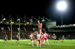 A line out is contested by Northampton Saints and Gloucester Rugby under the lights at Franklin's Gardens in the Aviva Premiership - Mandatory by-line: Robbie Stephenson/JMP - 28/10/2016 - RUGBY - Franklin's Gardens - Northampton, England - Northampton Saints v Gloucester Rugby - Aviva Premiership
