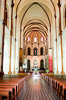 Beautiful interior of the Notre Dame Cathedral in Saigon.