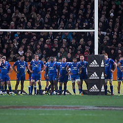 France wait for a NZ conversion attempt during the Steinlager Series international rugby match between the New Zealand All Blacks and France at Forsyth Barr Stadium in Wellington, New Zealand on Saturday, 23 June 2018. Photo: Dave Lintott / lintottphoto.co.nz