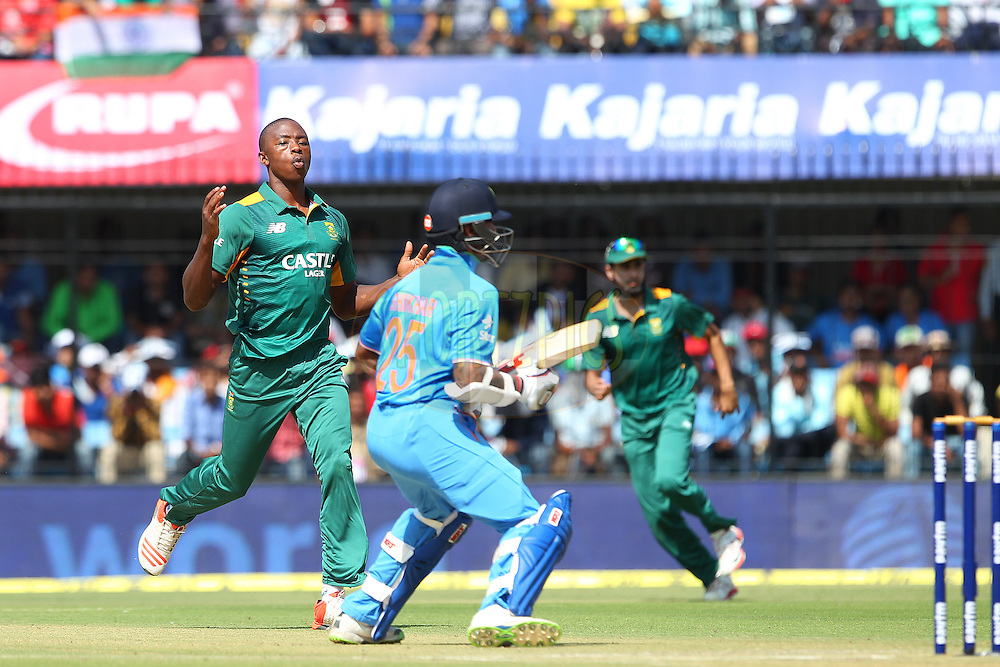 Kagiso Rabada of South Africa reacts after a delivery during the 2nd Paytm Freedom Trophy Series One Day International ( ODI ) match between India and South Africa held at the Holkar Stadium in Indore, India on the 14th October 2015<br /> <br /> Photo by Ron Gaunt/ BCCI/ Sportzpics