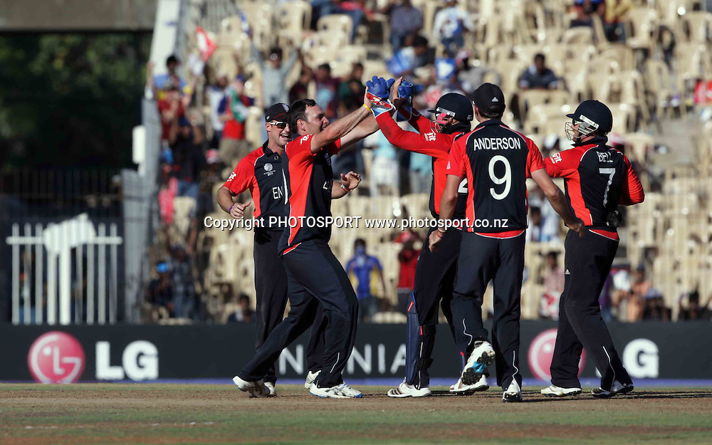 England celebrate. ICC Cricket World Cup 2011. Africa v England. MA Chidambaram Stadium, Chepauk, Chennai, 6 March 2011. Photo: photosport.co.nz
