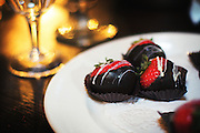 Chocolate covered strawberries with wine