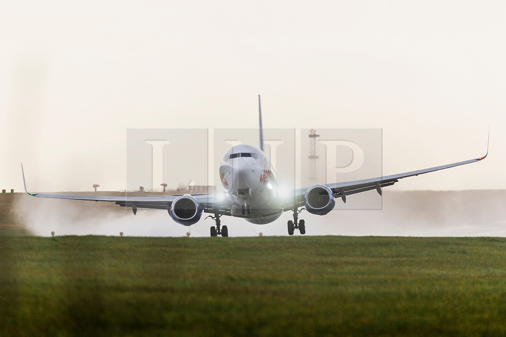 © Licensed to London News Pictures. 10/03/2020. Leeds UK. A Jet2 aircraft is blown about as it attempts to take off in the strong winds this morning at Leeds Bradford airport in Yorkshire as the UK is battered by more bad weather. Photo credit: Andrew McCaren/LNP