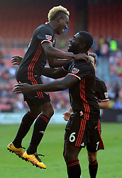 August 5, 2017 - Washington, DC, USA - 20170805 - D.C. United defender KOFI OPARE (6), right, celebrates with D.C. United midfielder LLOYD SAM (8), following Opare's goal against Toronto FC in the first half at RFK Stadium in Washington. (Credit Image: © Chuck Myers via ZUMA Wire)