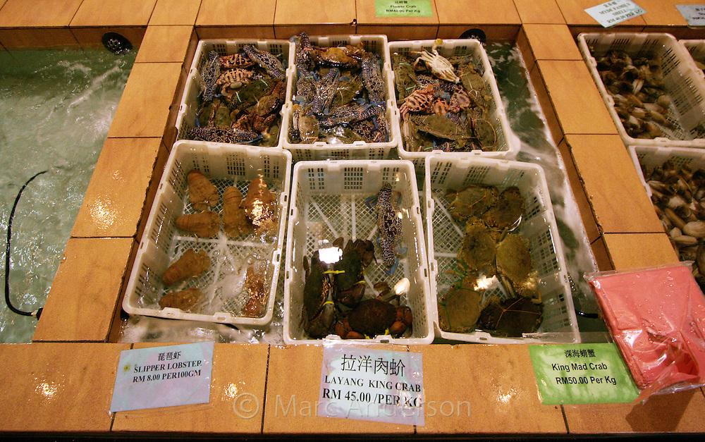 Fresh seafood delicacies in seafood restaurant, Kota Kinabalu, Sabah, Malaysia..