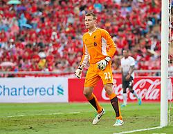 BANGKOK, THAILAND - Sunday, July 28, 2013: Liverpool's goalkeeper Simon Mignolet in action against Thailand XI during a preseason friendly match at the Rajamangala National Stadium. (Pic by David Rawcliffe/Propaganda)
