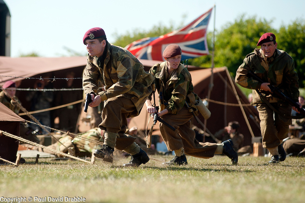 reenactors portray the 6th Aiborne Division during a battle reeactment at Fort Paull near Hull<br />