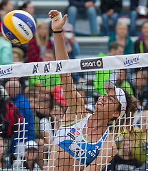 30.07.2015, Strandbad, Klagenfurt, AUT, A1 Beachvolleyball EM 2015, im Bild Lena Maria Plesiutschnig 1 AUT // during of the A1 Beachvolleyball European Championship at the Strandbad Klagenfurt, Austria on 2015/07/30. EXPA Pictures © 2015, EXPA Pictures © 2015, PhotoCredit: EXPA/ Mag. Gert Steinthaler
