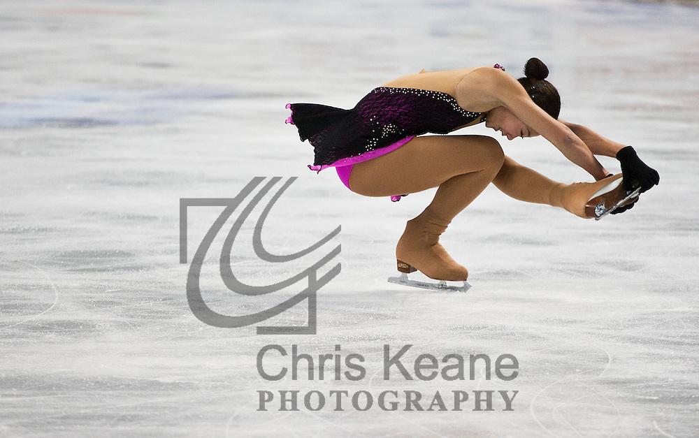 Mirai Nagasu skates in a practice session during the U.S. Figure Skating Championships in Greensboro, North Carolina on January 25, 2011. REUTERS/Chris Keane (UNITED STATES)