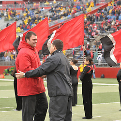 Dec 5, 2009; Piscataway, NJ, USA; Rutgers head coach Greg Schiano shakes hands with during the senior ceremony before first half NCAA Big East college football action between Rutgers and West Virginia at Rutgers Stadium.