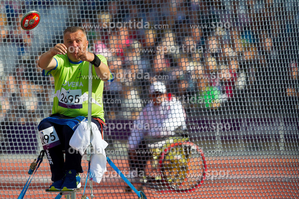 Joze Flere of Slovenia competes during Men's Discus Throw F51/52/53 athletics competition during Day 9 of the Summer Paralympic Games London 2012 on September 6, 2012, in  Olympics stadium, London, Great Britain. (Photo by Vid Ponikvar / Sportida.com)