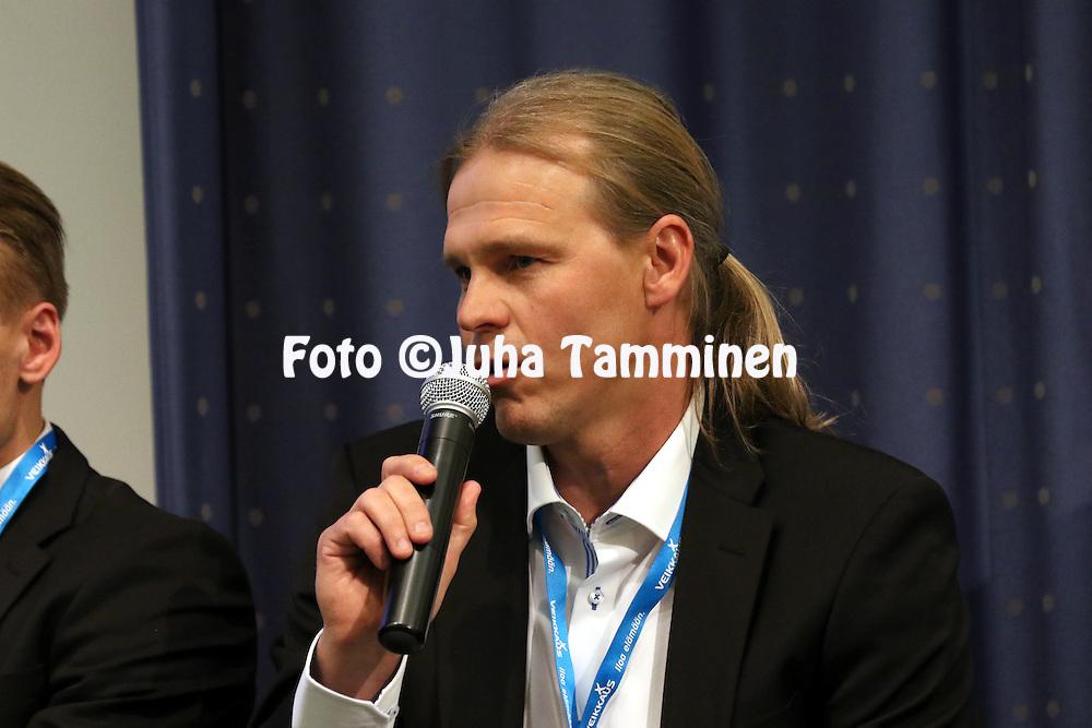 1.4.2015, Helsinki. <br /> Veikkausliigan 2015 Media-avaus.<br /> Valmentaja Marko Rajam&auml;ki - KuPS