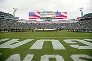 The American flag is on display on the stadium scoreboard and throughout TIAA Bank Field during a Salute to Service game at the Jacksonville Jaguars NFL week 13 regular season football game against the Indianapolis Colts on Sunday, Dec. 2, 2018 in Jacksonville, Fla. The Jaguars won the game in a 6-0 shutout. (©Paul Anthony Spinelli)