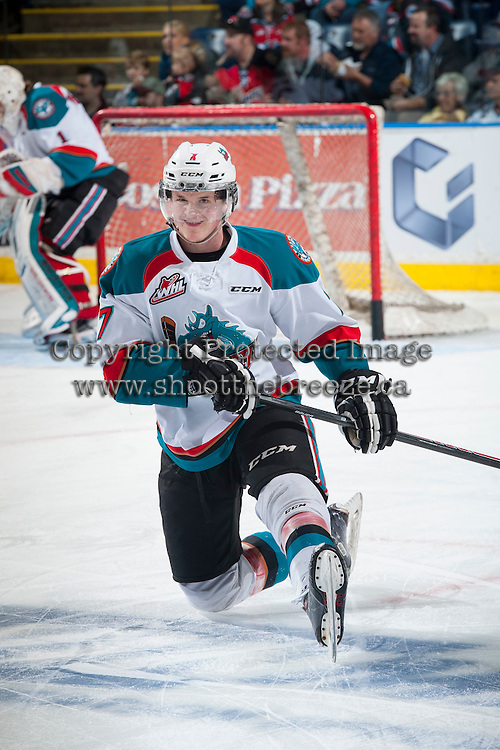 KELOWNA, CANADA - MAY 13: Lucas Johansen #7 of Kelowna Rockets warms up against the Portland Winterhawks on May 13, 2015 during game 4 of the WHL final series at Prospera Place in Kelowna, British Columbia, Canada.  (Photo by Marissa Baecker/Shoot the Breeze)  *** Local Caption *** Lucas Johansen;