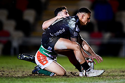 Guinness PRO14, Rodney Parade, Newport, UK 06/03/2020<br /> Dragons vs Benetton Rugby<br /> Ashton Hewitt of Dragons and Luca Petrozzi of Benetton Rugby chase the loose ball<br /> Mandatory Credit ©INPHO/Ryan Hiscott