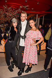 Left to right, KStewart, Kyle De'Volle and Sinead Harnett at Sambazonia presented by Sushisamba and Cool Earth at SushiSamba, 110 Bishopsgate, City of London England. 28 February 2017.