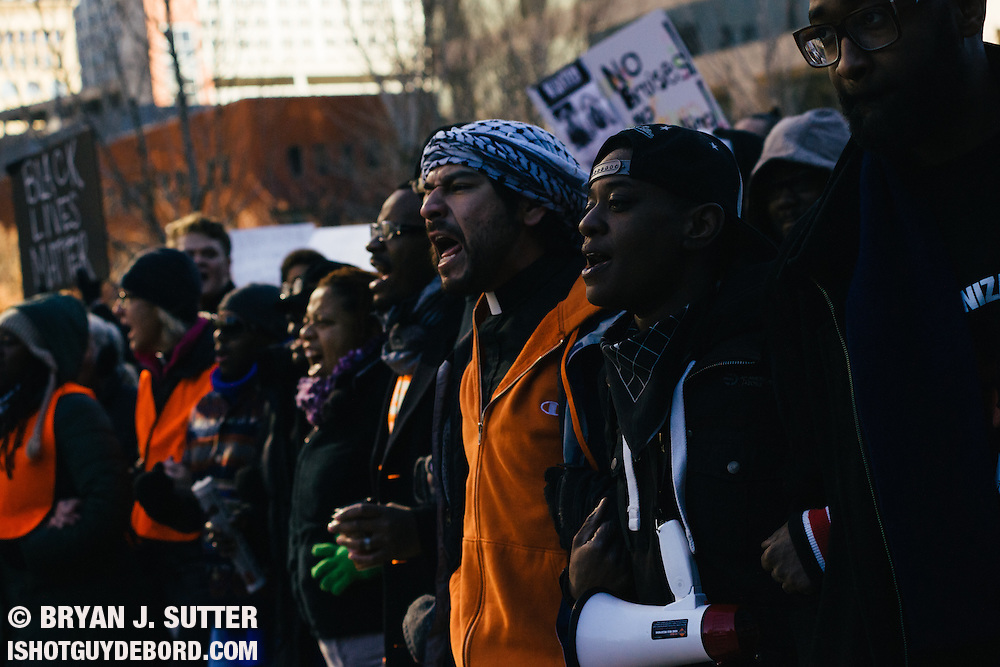 Hundreds march through downtown St. Louis on November 25th, 2014 in response to Darren Wilson not being indicted for the death of Mike Brown.