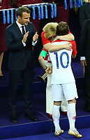 Croatia President Olinda Grabar-Kitarovic on the stage with French President Emmanuel Macron congratulating Luka Modric (Croatia) <br /> Celebration Victory France <br /> Moscow 15-07-2018 Football FIFA World Cup Russia  2018 Final / Finale <br /> France - Croatia / Francia - Croazia <br /> Foto Matteo Ciambelli/Insidefoto