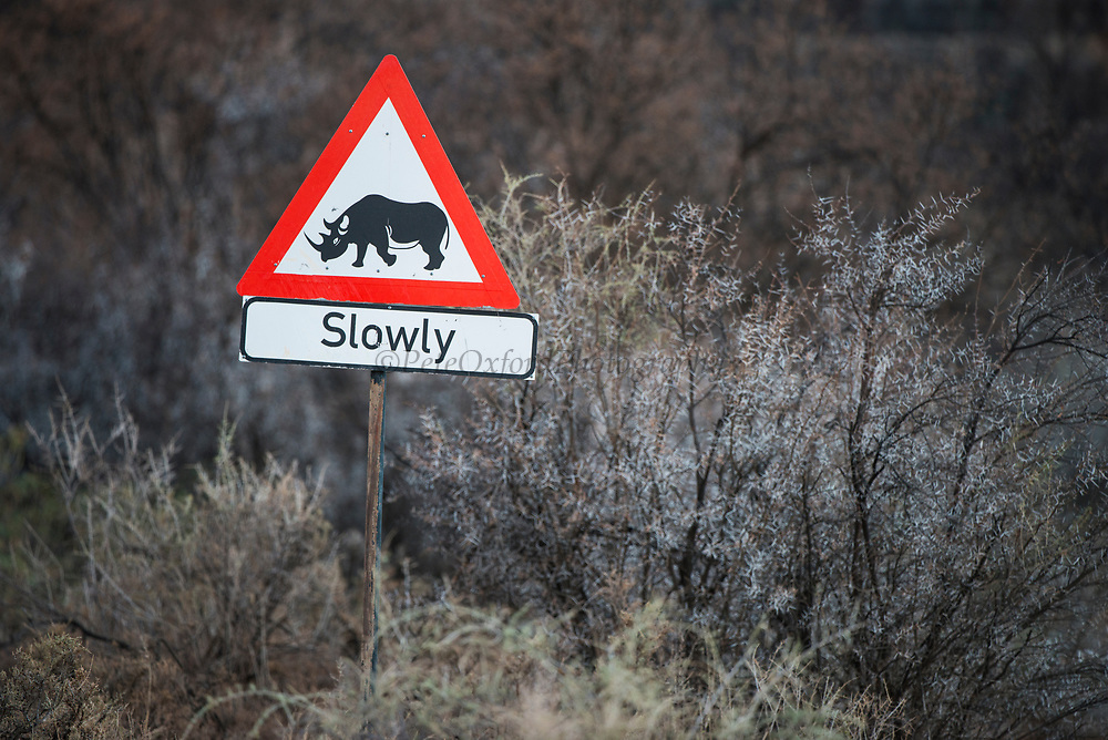 Rhino Traffic Sign<br /> Private game ranch<br /> Great Karoo<br /> SOUTH AFRICA