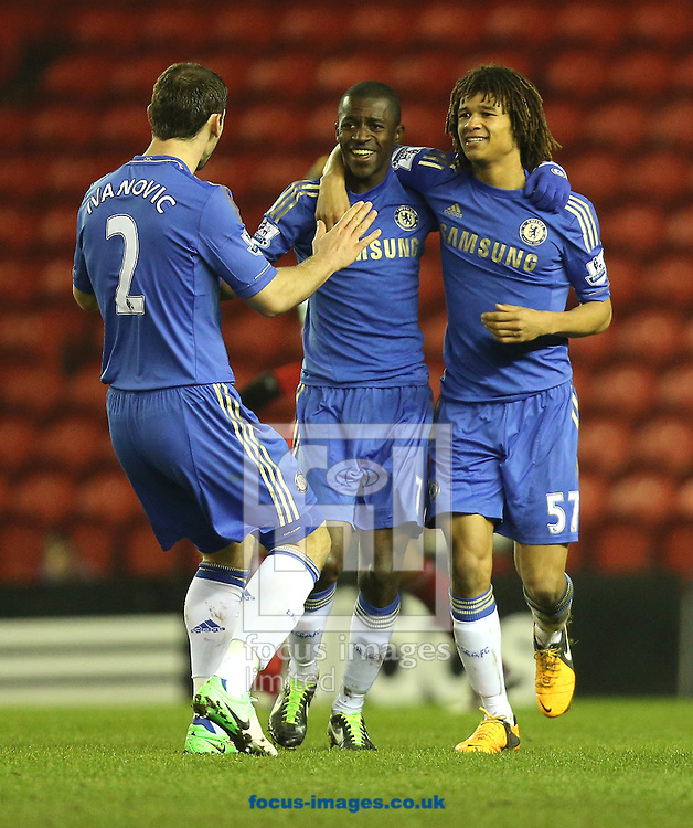 Picture by Paul Gaythorpe/Focus Images Ltd +447771 871632.27/02/2013.Chelsea players celebrate the first goal against Middlesbrough during the FA Cup match at the Riverside Stadium, Middlesbrough.