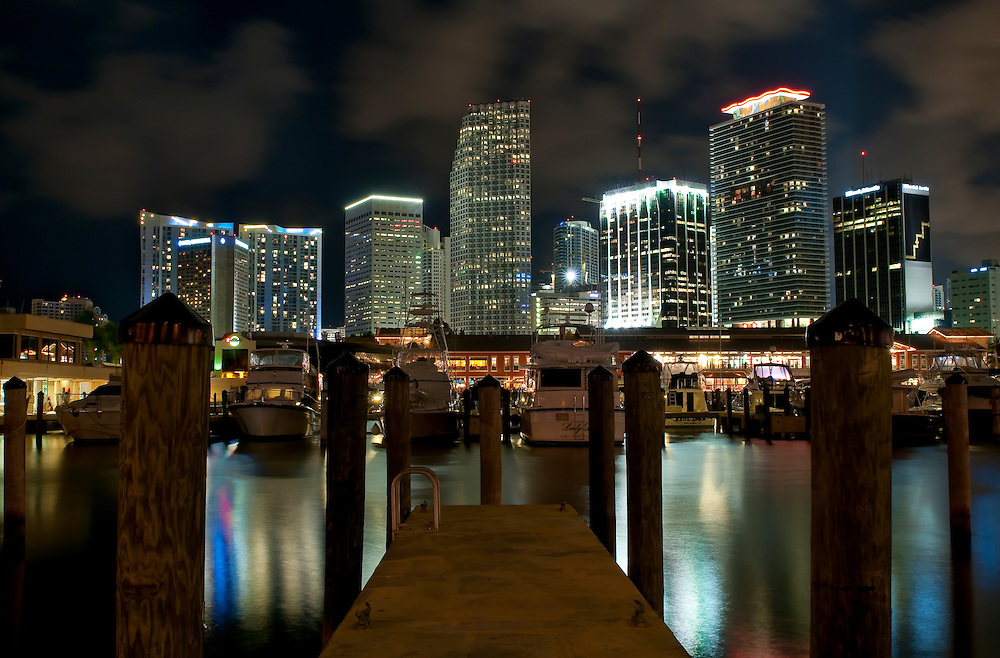View of Downtown Miami from Marina at Biscayne Bay.