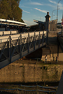 France. Paris 4th district.  The elevated subway. Bastille, Arsenal port and canal / canal de la Bastille et port de l arsenal
