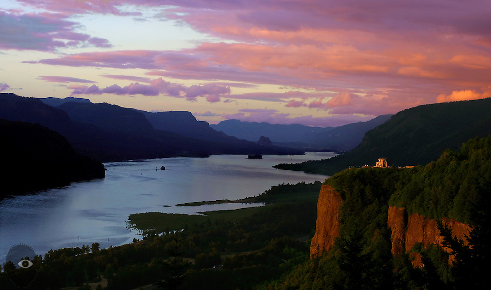 A beautiful sunset over the Columbia River Gorge and Vista House which underwent a $2 million historical restoration.