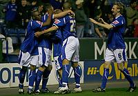 Photo: Steve Bond.<br /> Leicester City v Leeds United. Coca Cola Championship. 13/03/2007. Leicester City celebrate Iain Hume's equaliser