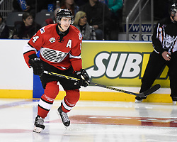 Chris Bigras of the Owen Sound Attack represented Team OHL in Game 4 of the 2014 SUBWAY Super Series in Kingston, ON on Monday, Nov. 17, 2014. Photo by Aaron Bell/OHL Images